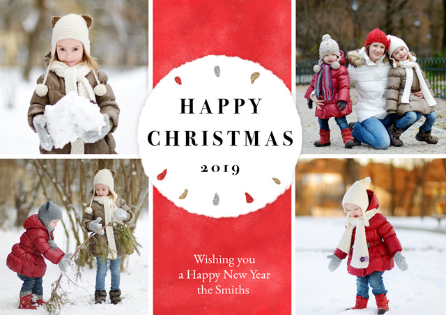 Create a Photo Christmas Card Collage Circle Greeting Card