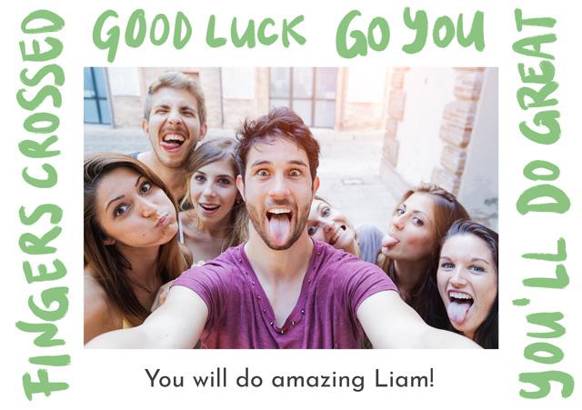 Create a Photo Card Good Luck  Written Border Photo Card
