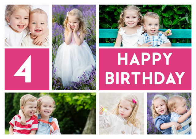 Create a 6 Photo Collage Milestone Greeting Card