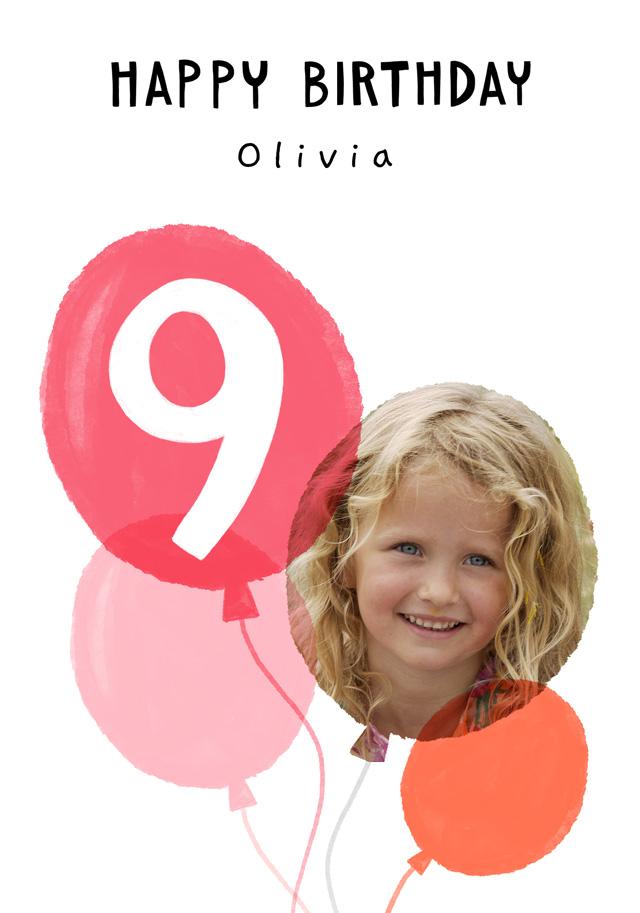 Photo Birthday Card Balloon Milestone 9