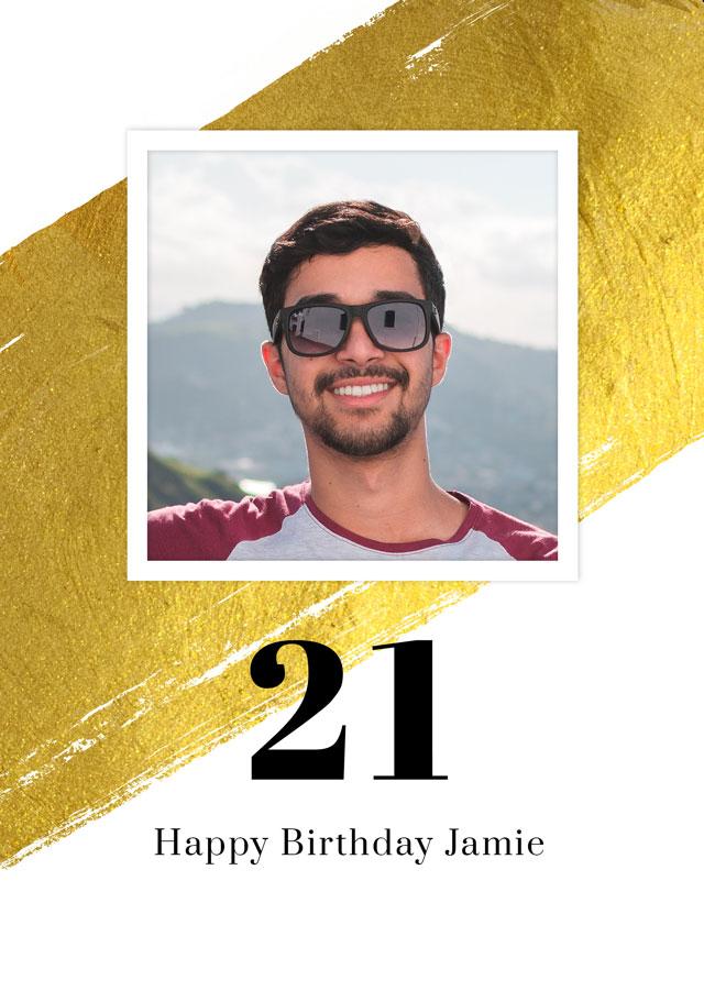 Photo Card Birthday Gold Milestone 21