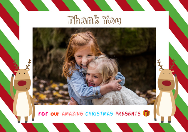 Create a Photo Thank You Card Reindeers Photo Card
