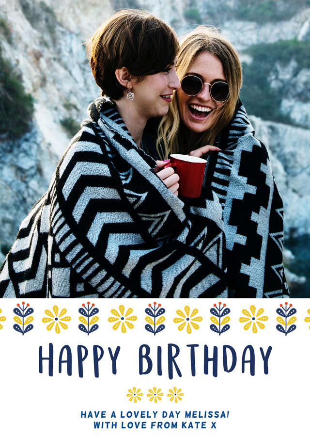 Create a Happy Birthday Danish Flowers Photo Card