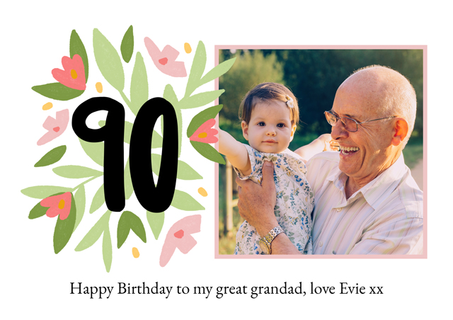 Create a Photo Card Milestone Birthday Floral 90 Photo Card