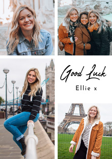 Photo Card Good Luck Collage 4 Photos