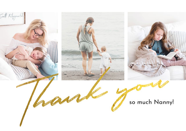 Create Photo Card Thank You Gold Foil Collage Card