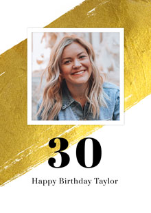 Create a Photo Card Birthday Gold Milestone 30 Photo Card