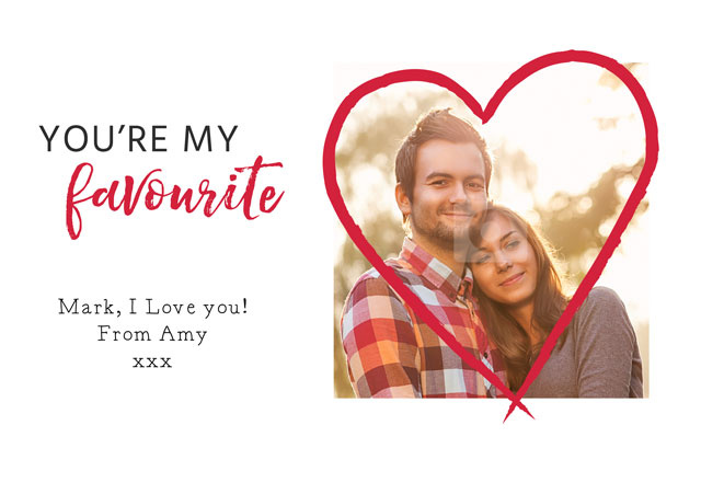 Create Photo Card Valentines Big Heart Card