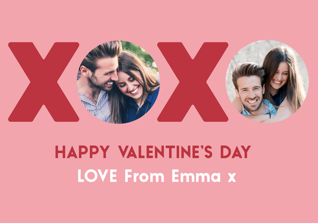 Create Photo Card Valentines Xoxo Circles Card