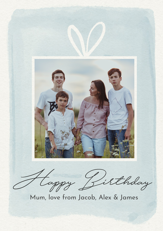Create a Photo Birthday Card Watercolour Gift Photo Card