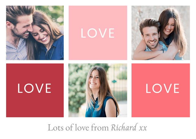 Create a Photo Card Valentines Love Love Love Photo Card