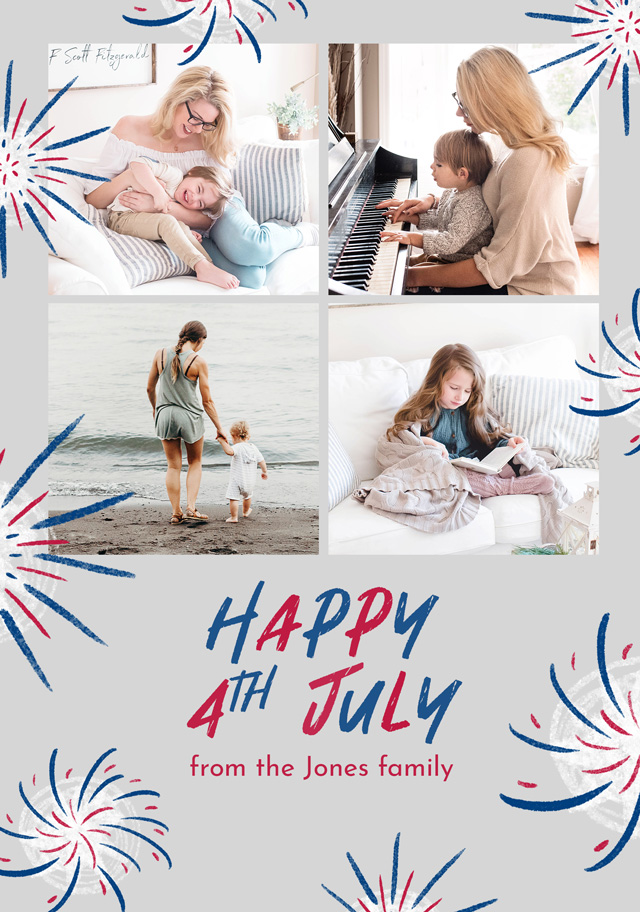 Photo Card 4th July Fireworks Collage