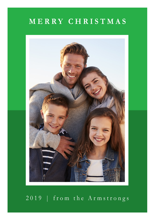 Create a Photo Christmas Card Contemporary Two Tone Colour Portrait Photo Card