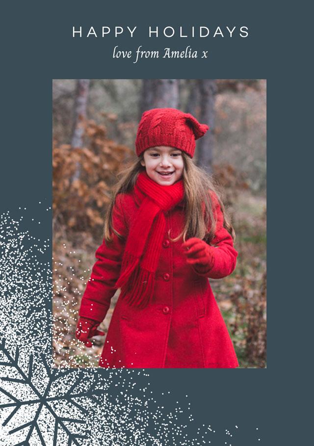 Holiday Snowflake   Portrait Photo Christmas Card