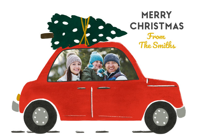 Create a Photo Christmas Card Red Car Photo Card