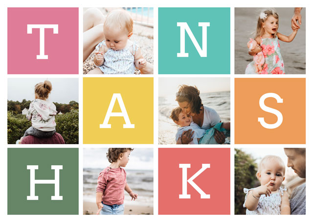 Create a Photo Thank You Card Collage Coloured Squares Landscape Photo Card