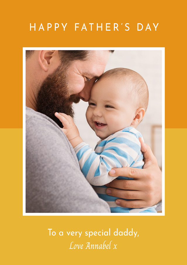 Create a Photo Father's Day Card Two Tone Border Photo Card