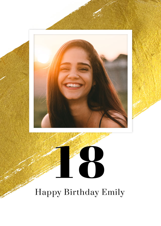 Create a Photo Card Birthday Gold Milestone 18 Photo Card