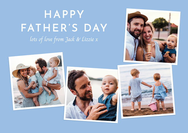 Create Photo Father's Day Card Square Photos Collage Card