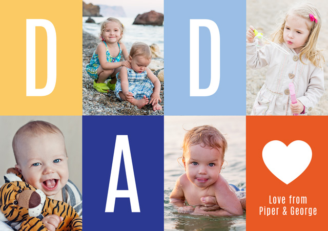Photo Father's Day Card Collage Dad Heart