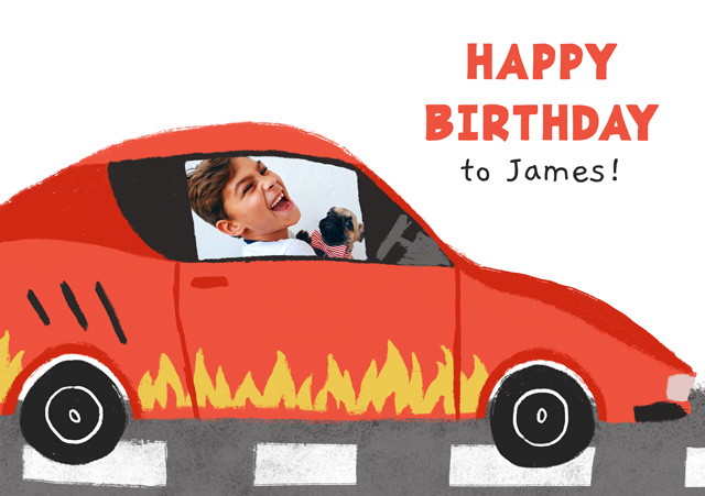 Photo Card Birthday Car