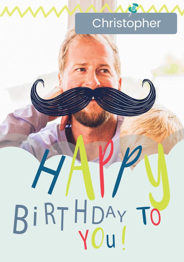 Create a Birthday Moustache Photo Card