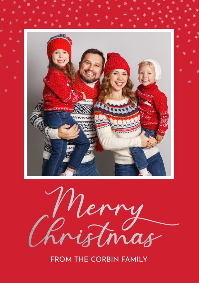 Create a Photo Christmas Card Silver Snowflakes Greeting Card