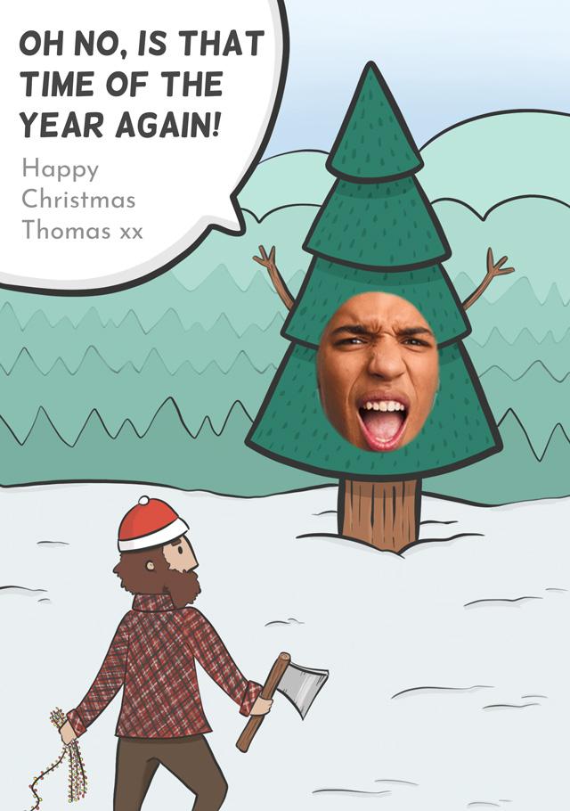 Create a Photo Christmas Card Christmas Tree Greeting Card