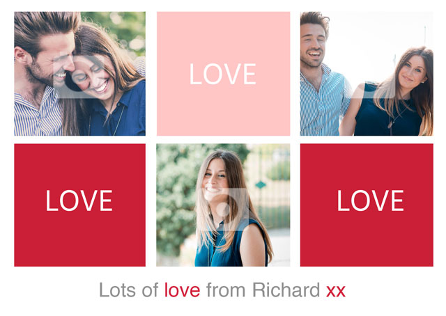 Create a Collage Grid Love Photo Card