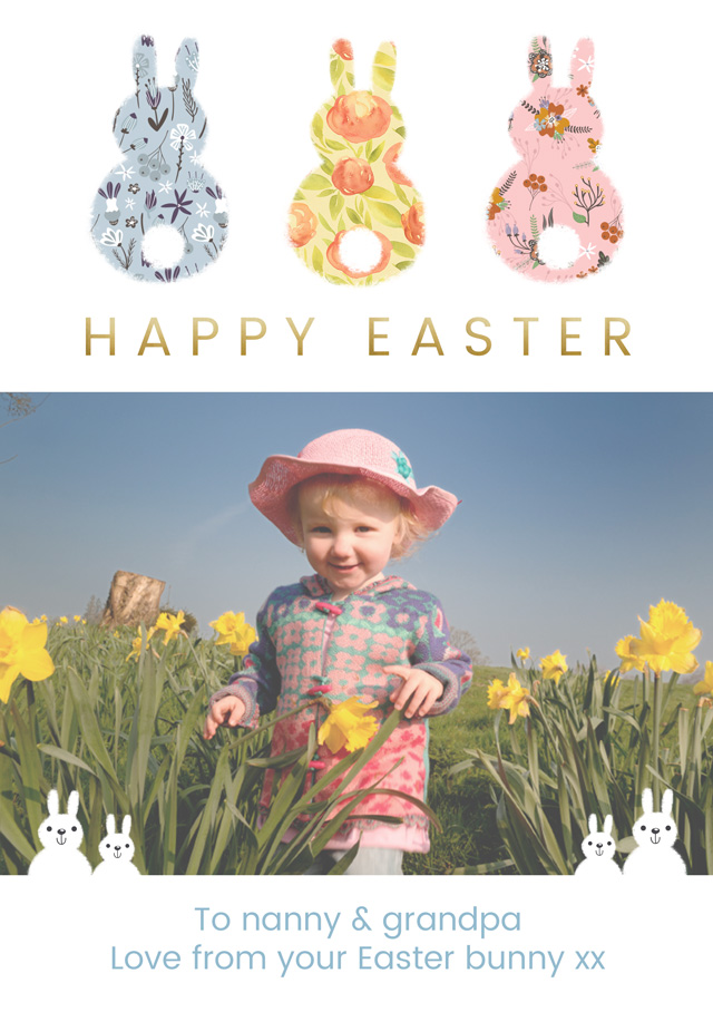 Create 3 X Back Photo Easter Card Easter Bunnies Card