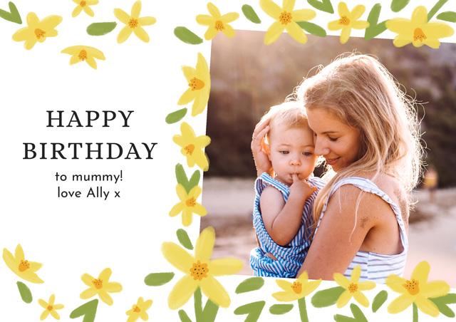 Photo Birthday Card Spring Flowers