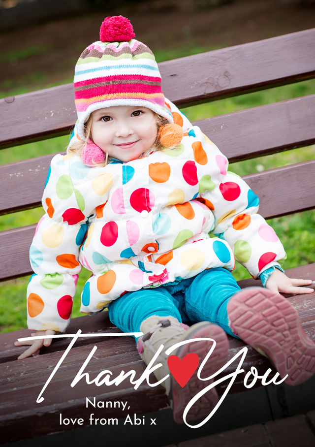 Create a Photo Thank You Card Heart Photo Card