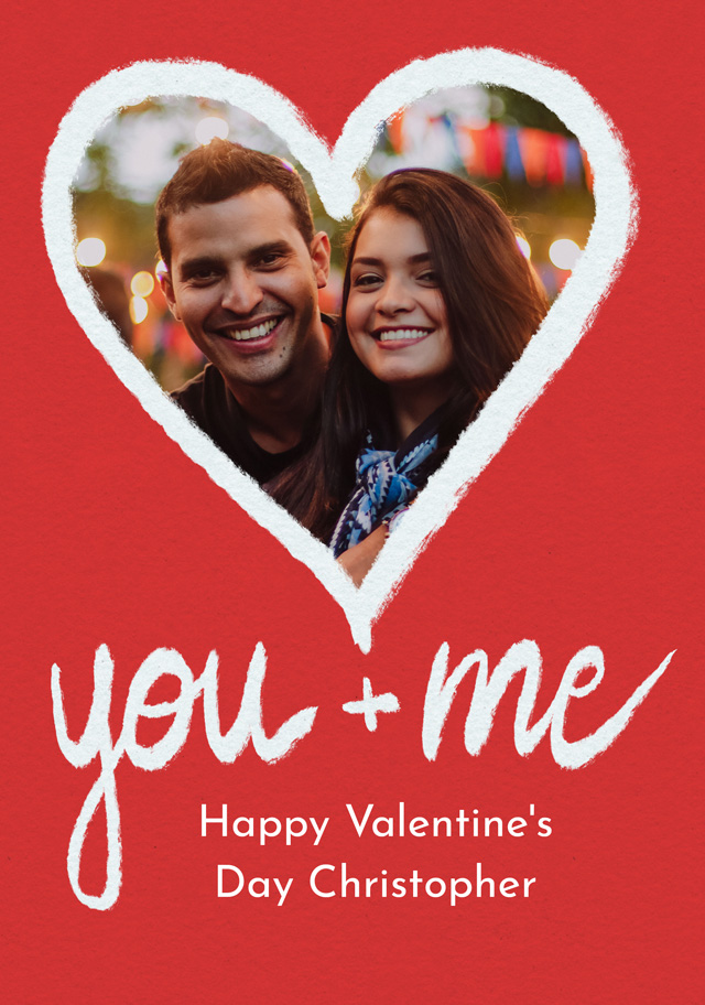Create a Photo Card Valentines You And Me Photo Card
