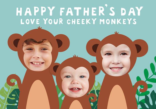 Create a Monkeys X3 Greeting Card
