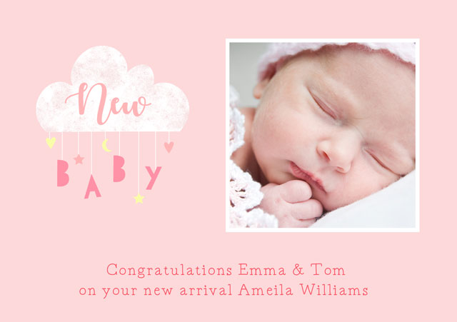 Create a New Baby Clouds Mobile Pink Greeting Card