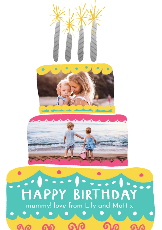 Create Photo Card Birthday Cake Two Photos Card