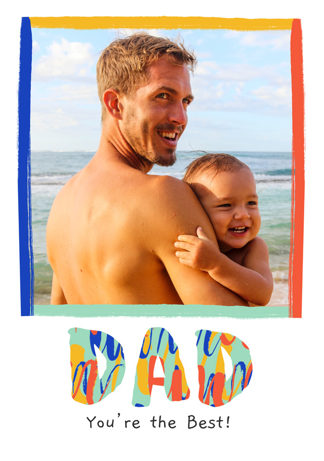 Photo Father's Day Card Modern Colourful Dad