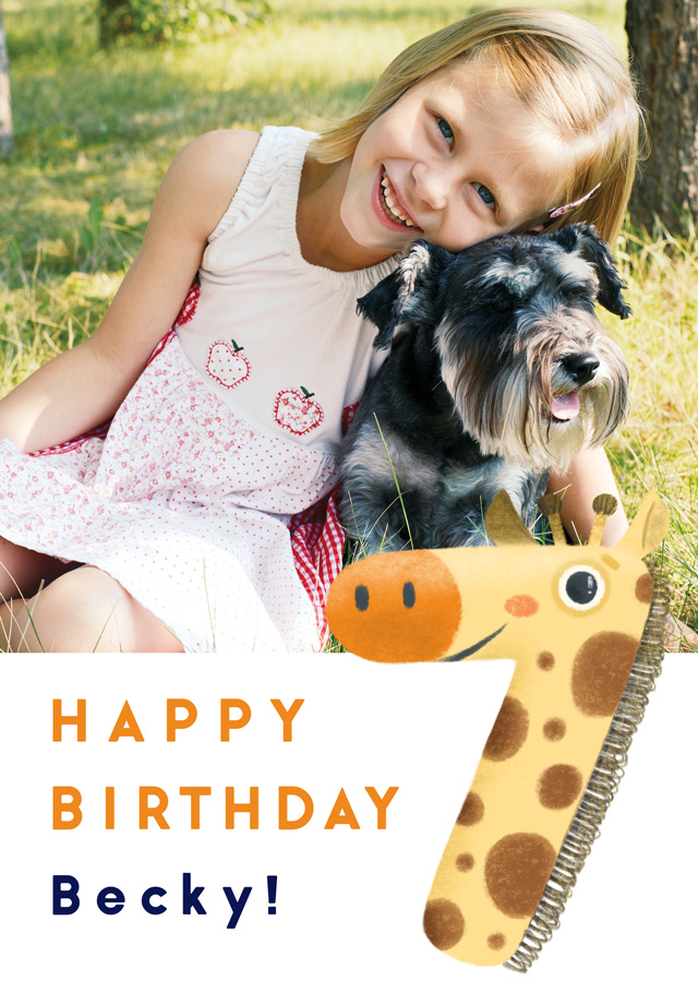 Create a Photo Birthday Card Milestone 7 Giraffe Photo Card
