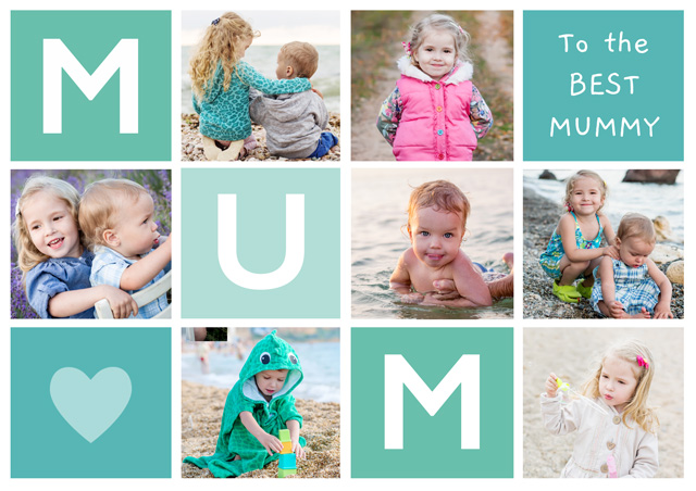 Create a Photo Mother's Day Card Mum 7 Photo Collage Landscape Photo Card