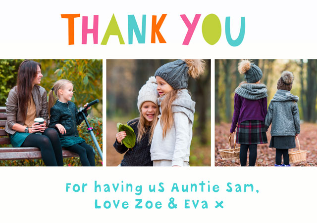 Create a Photo Thank You Card Collage Multi Colour Photo Card