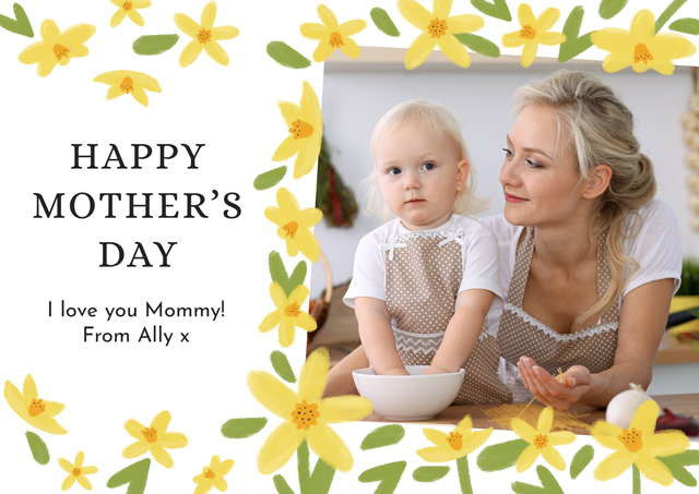 Create Photo Mother's Day Card Yellow Flowers Card