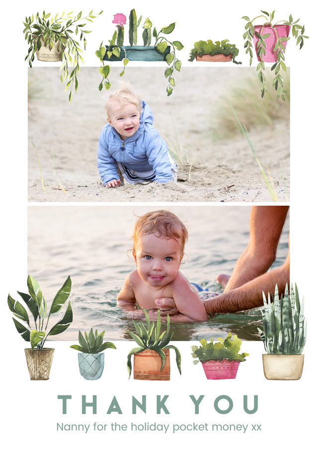 Create Photo Thank You Card Collage Plant Pots Card