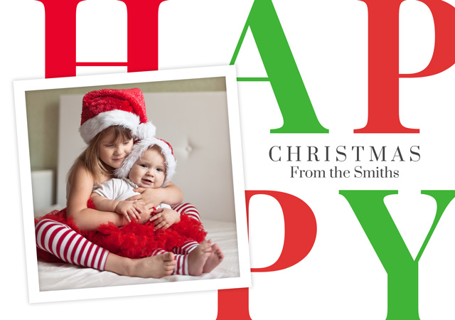 Create a Photo Christmas Card Happy With Square Photo Photo Card
