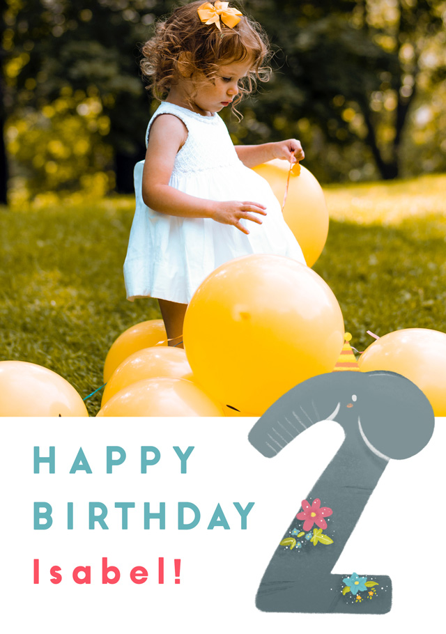 Create a Birthday 2 Elephant Photo Card