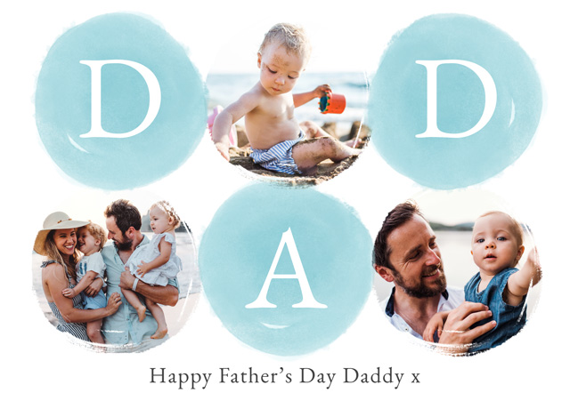 Photo Father's Day Card Collage Watercolour Dad