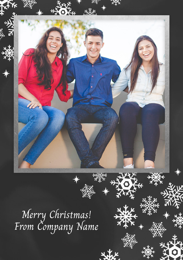 Create a Photo Christmas Card Corporate Snowflakes Portrait Photo Card