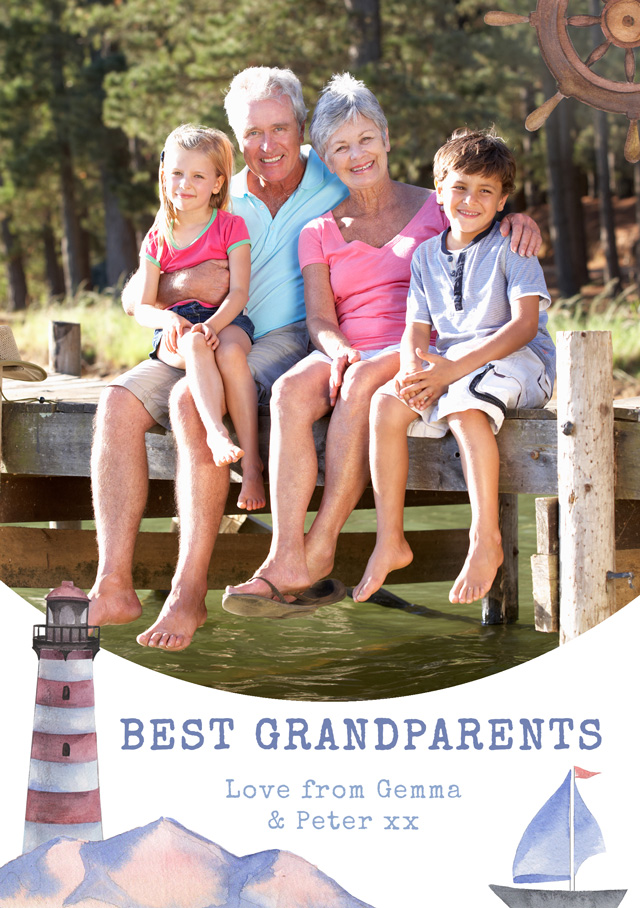Create a Sailing Theme Grandparents Greeting Card