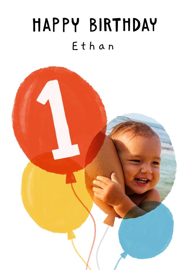 Create a Photo Birthday Card Balloon Milestone 1 Photo Card