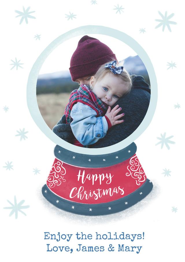 Create a Photo Christmas Card Snowglobe Greeting Card