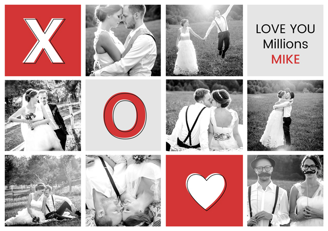 Create a Photo Card Love X O Heart Photo Card